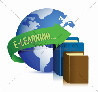 e learning books and globe