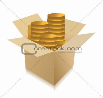 coins inside a box