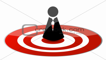 businessman in the center of the target