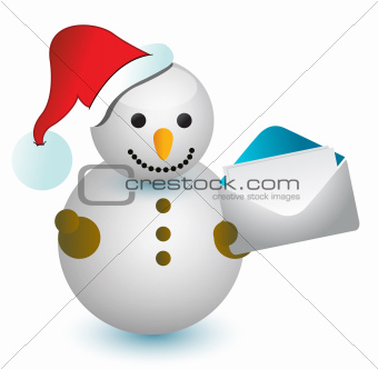 Snowman and envelope