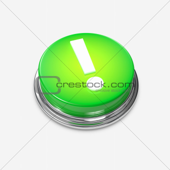 Green Alert Button Exclamation Mark glowing