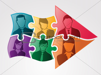 Business Teamwork Puzzle Arrow