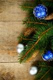 christmas fir tree with pinecones and decorations