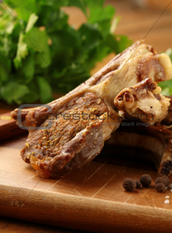 Prepared Lamb meat   on wooden board