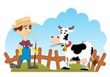 Farmer and cow
