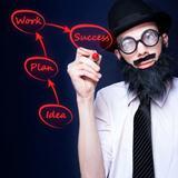 Marketing Business Man Drawing Success Diagram