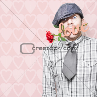 Shy Young Romeo Boy In Love With Heart In Mouth