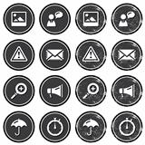 Website navigation icons on retro labels set