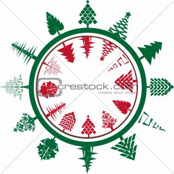christmas circle composition