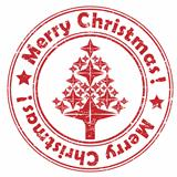 merry christmas red tree stamp