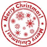 merry christmas snowflakes stamp
