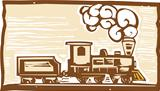 Locomotive Woodcut