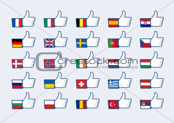 Thumb up Europe flags