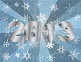 2013 New Year Numerals in Silver Background