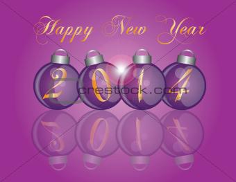 2014 New Year Purple Ornaments