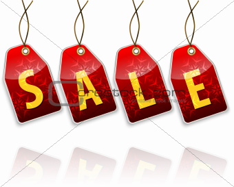 Red hanging tags with the word sale. Shopping labels