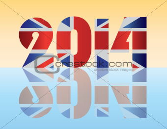 New Year 2014 London England Flag Illustration