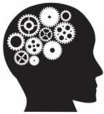 Human Head with Mechanical Gears Illustration