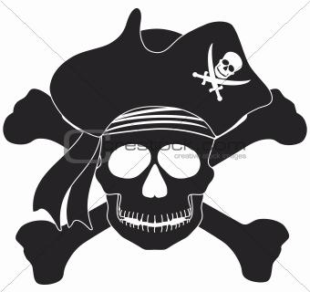 Pirate Skull Black White Illustration