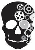 Front Facing Skull with Mechanical Gears