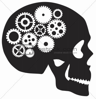 Skull with Mechanical Gears Illustration