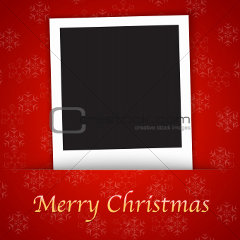 Merry Christmas card template with blank photo frame on the red