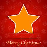Merry Christmas gift card with a simple star placed on red backg