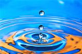 Blue- Orange Water Drop Splashing with Waves