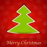 Merry Christmas gift card with a simple New Year tree