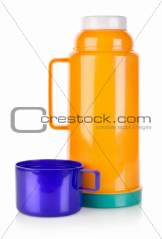 Plastic thermos isolated