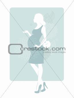 Pregnant silhouette woman