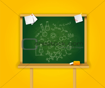 Green school boards on yellow background