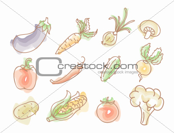Vegetables colourful doodles set