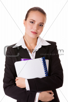 Student woman in business suit with books