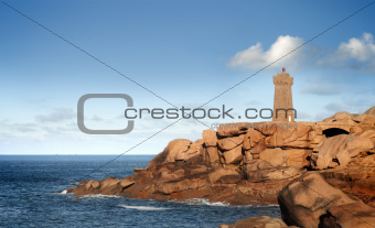 France, brittany, pink granit coast, ploumanac'h lighthouse