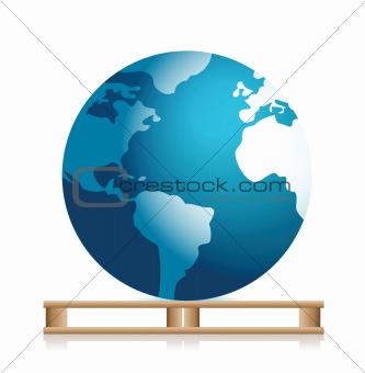 globe on a pallet