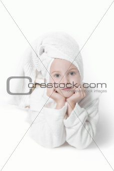 young girl in white towel and bath robe