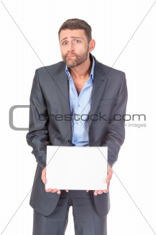 Portrait businessman showing an empty board to write