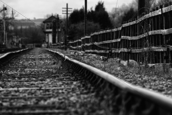 Set of derelict train tracks