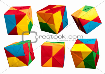 Paper cubes folded origami style.
