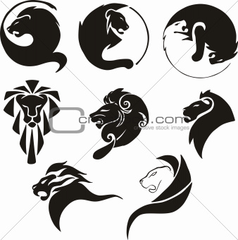 Stylized black lions