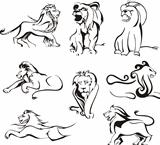 Stylized lions