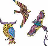 Stylized motley birds