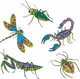 Stylized motley insects