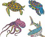 Stylized motley sea animals