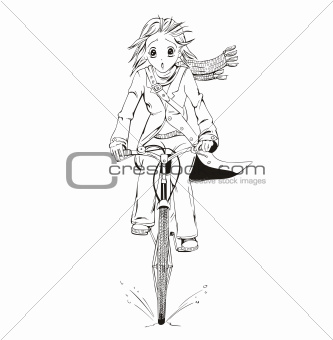 Anime girl bicyclist