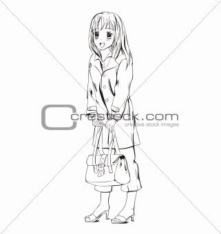 Anime girl with handbag