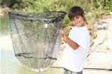 Boy with a huge fishing net