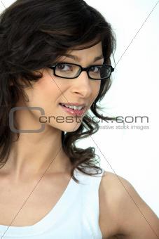 Portrait of a woman wearing glasses