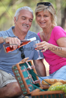 Couple enjoying a picnic